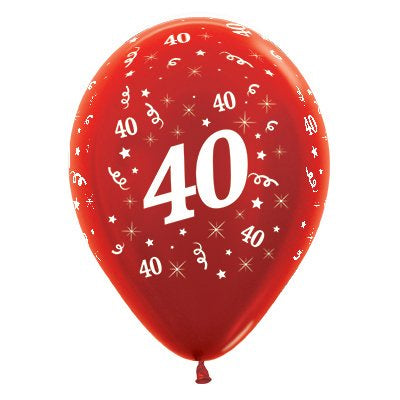 6 Pack Age 40 Balloons - Metallic Red