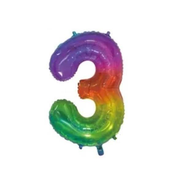 Giant Rainbow Number Foil Balloon - 3 | Party Choice