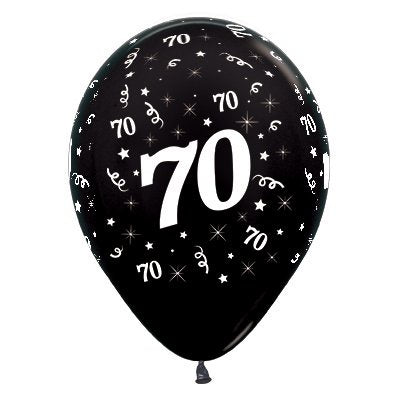 6 Pack Age 70 Balloons - Metallic Black