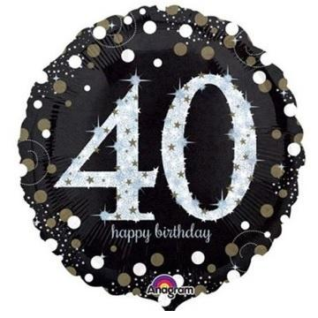 Sparkling Black 40th Foil Balloon