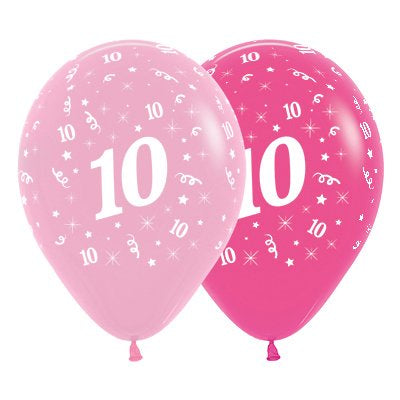 6 Pack Age 10 Balloons - Pink & Hot Pink