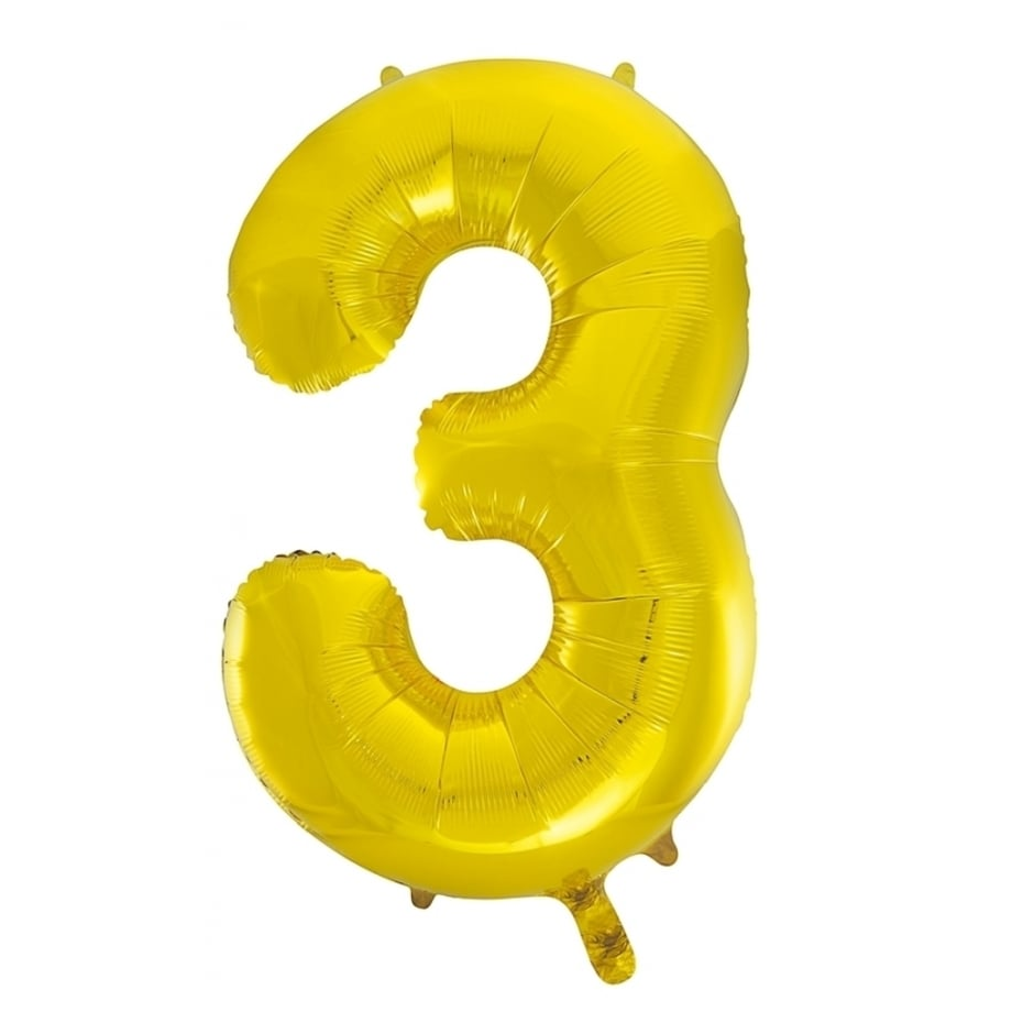 Giant Gold Number Foil Balloon - 3