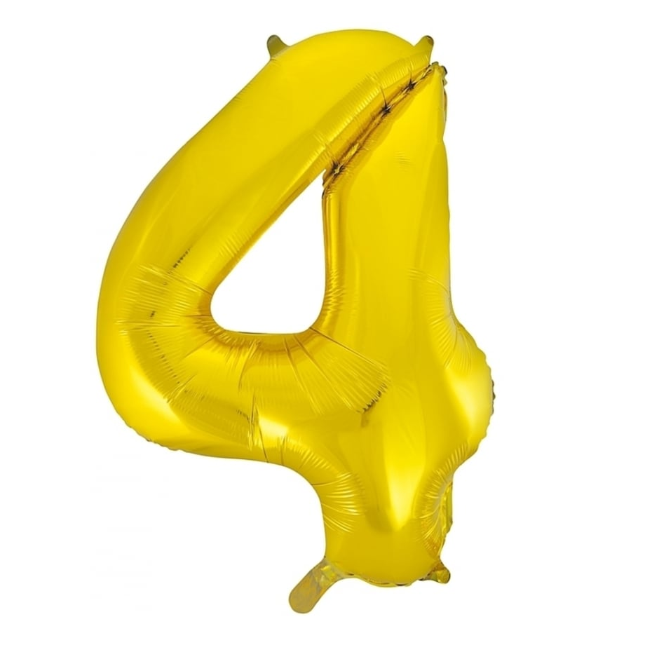 Giant Gold Number Foil Balloon - 4