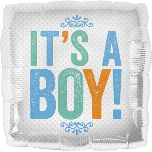It's A Boy Square Foil Balloon