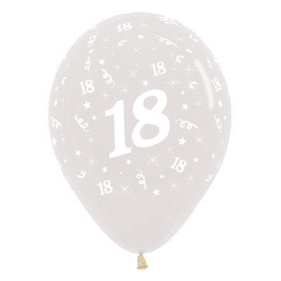 6 Pack Age 18 Balloons - Crystal Clear