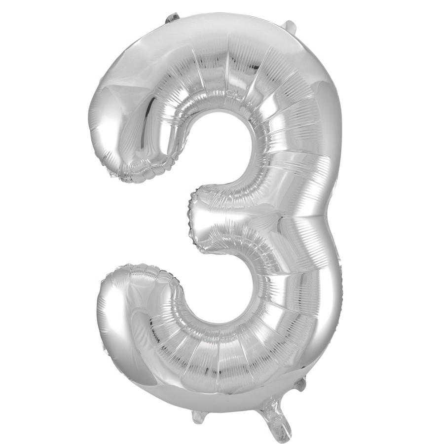 Giant Silver Number Foil Balloon - 3