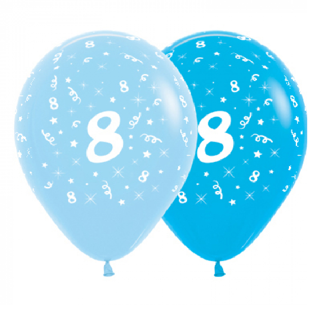 6 Pack Age 8 Balloons - Blue & Royal Blue
