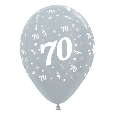 6 Pack Age 70 Balloons - Satin Pearl Silver