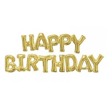 Gold Foil Balloon Banner - Happy Birthday