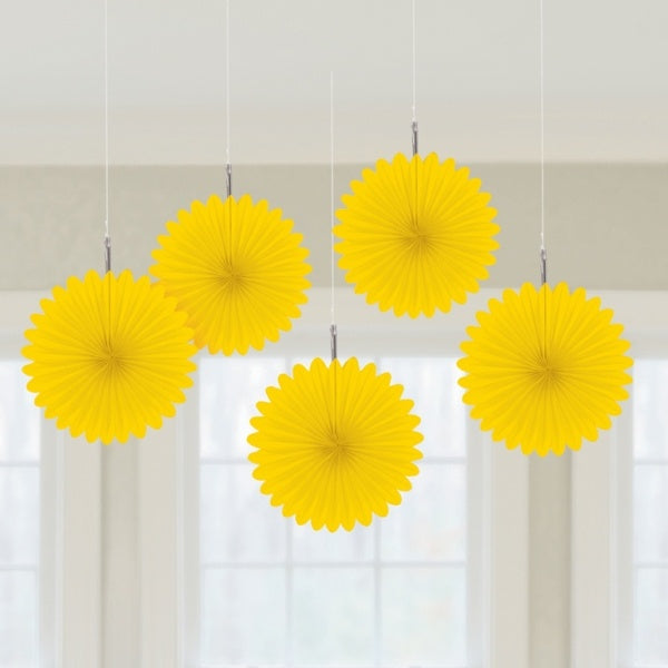 Sun Yellow Mini Hanging Fans - Pack of 5