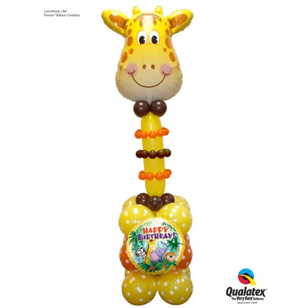 Jolly Giraffe Birthday Balloon Column