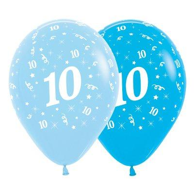 6 Pack Age 10 Balloons - Blue & Royal Blue