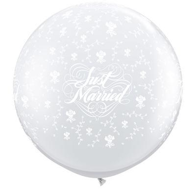 Giant Balloon - Diamond Clear Just Married 60cm