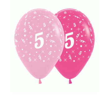 6 Pack Age 5 Balloons - Pink & Hot Pink