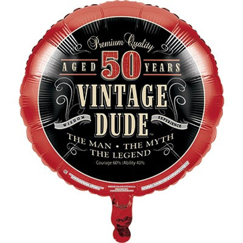 Vintage Dude 50th Birthday Foil Balloon