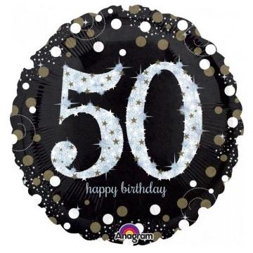 Sparkling Black 50th Foil Balloon
