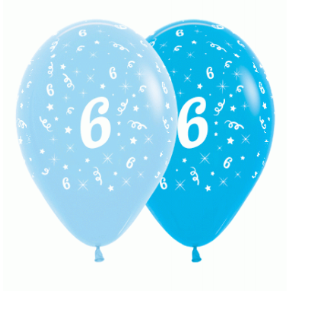 6 Pack Age 6 Balloons - Blue & Royal Blue