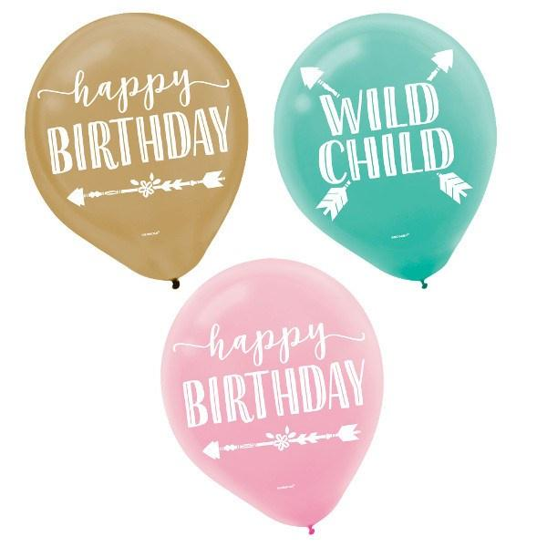 Boho Birthday Balloons - 6 Pack