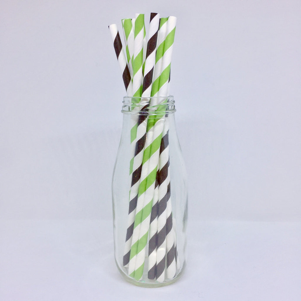 Green & Black Striped Paper Straws