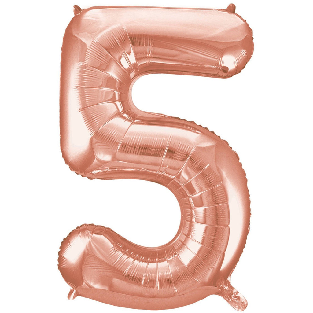 Giant Rose Gold Number Foil Balloon - 5