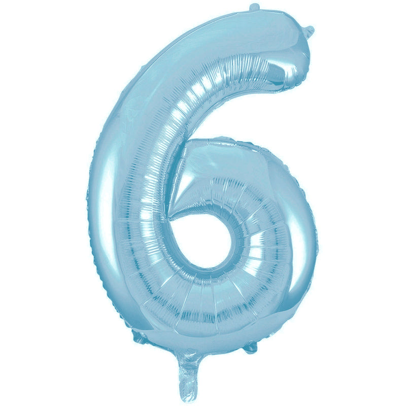 Giant Powder Blue Number Foil Balloon - 6