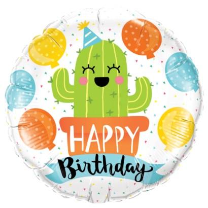 Cactus Happy Birthday Foil Balloon