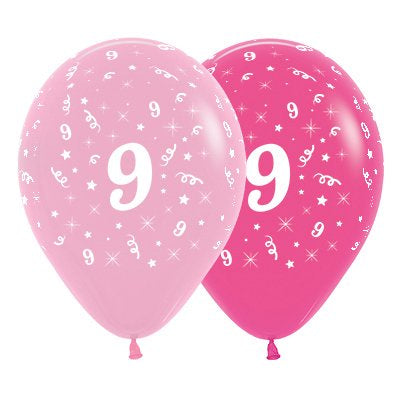 6 Pack Age 9 Balloons - Pink & Hot Pink