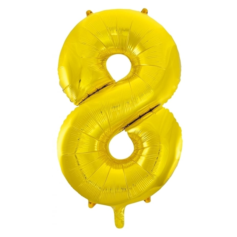 Giant Gold Number Foil Balloon - 8