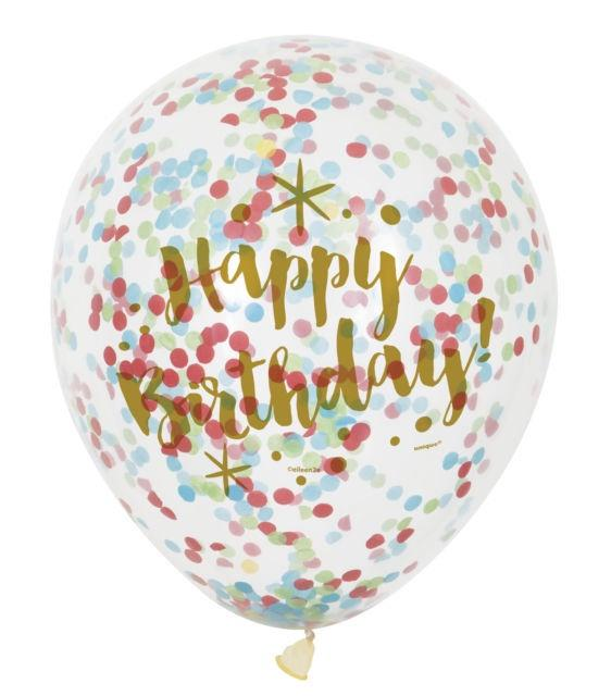 Clear Confetti Balloons - Happy Birthday Multi
