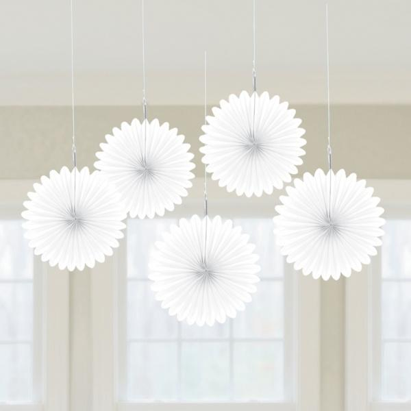 Frosty White Mini Hanging Fans - Pack of 5