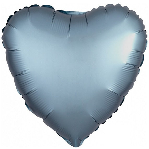 Satin Luxe Blue Steel Heart Foil Balloon
