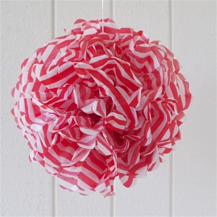 Red Stripe Tissue Pom Pom