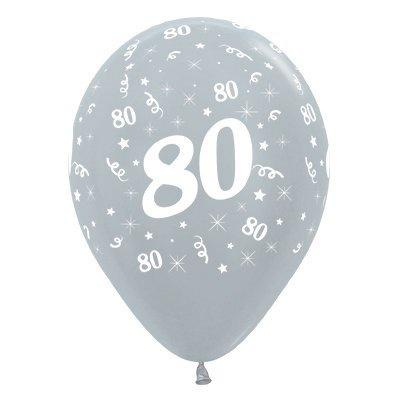 6 Pack Age 80 Balloons - Satin Pearl Silver