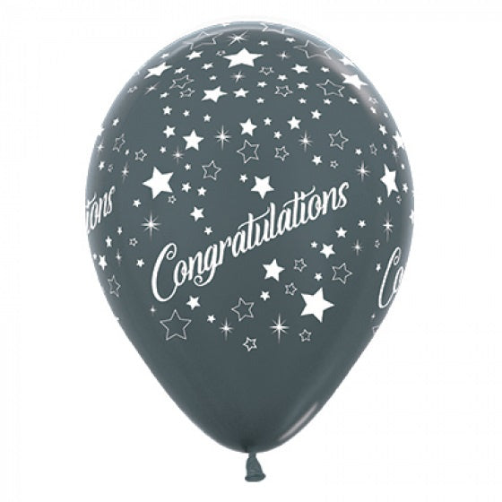 6 Pack Congratulations Stars Balloons - Metallic Graphite