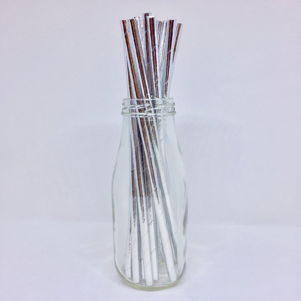 Metallic Silver Straws
