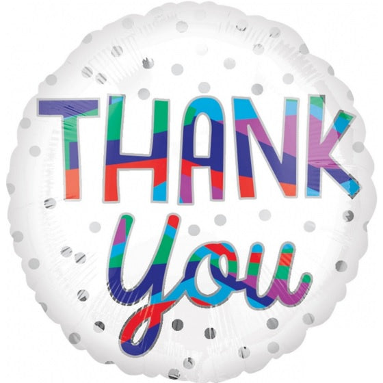 Silver Dots Thank You Foil Balloon