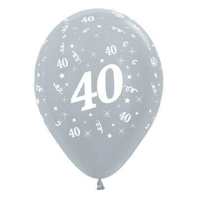 6 Pack Age 40 Balloons - Satin Pearl Silver