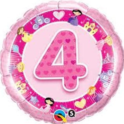 Number 4 Pink Princess Foil Balloon