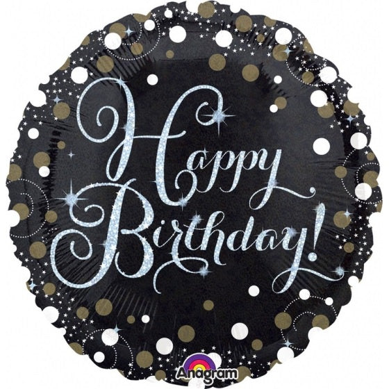 Sparkling Black Happy Birthday Foil Balloon
