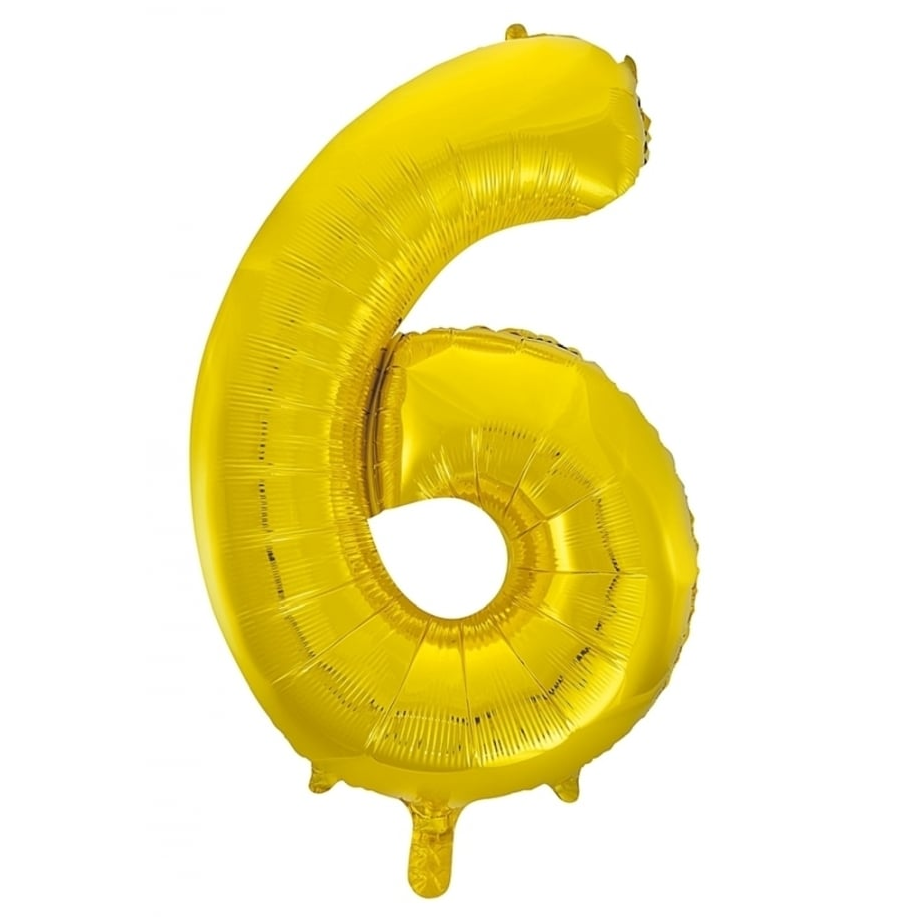 Giant Gold Number Foil Balloon - 6