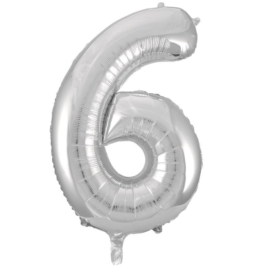 Giant Silver Number Foil Balloon - 6
