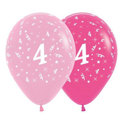 6 Pack Age 4 Balloons - Pink & Hot Pink