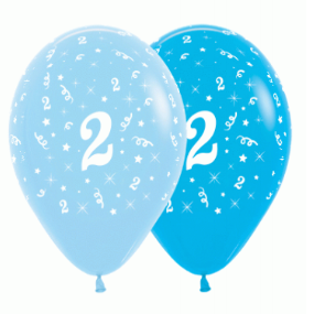 6 Pack Age 2 Balloons - Blue & Royal Blue
