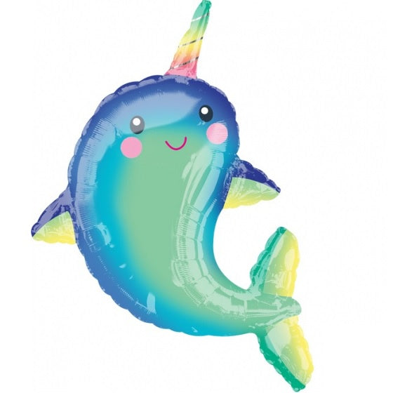 Happy Narwhal SuperShape Foil Balloon