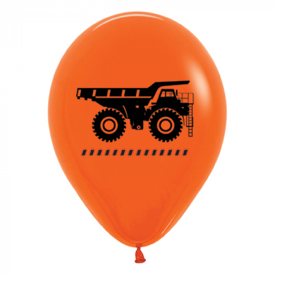 Orange Construction Truck Balloons - Pack of 6
