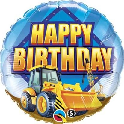 Happy Birthday Digger Foil Balloon