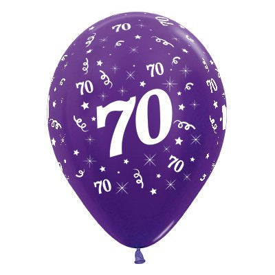 6 Pack Age 70 Balloons - Metallic Purple