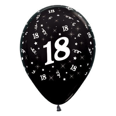 6 Pack Age 18 Balloons - Metallic Black