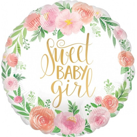 Floral Sweet Baby Girl Foil Balloon