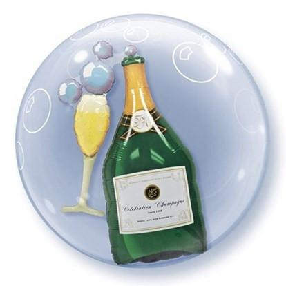 Champagne Bottle and Glass Double Bubble Balloon